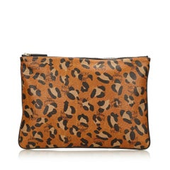 MCM Brown Leopard Printed Visetos Clutch
