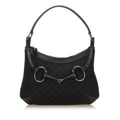 Gucci Black Guccissima Horsebit Hobo Bag