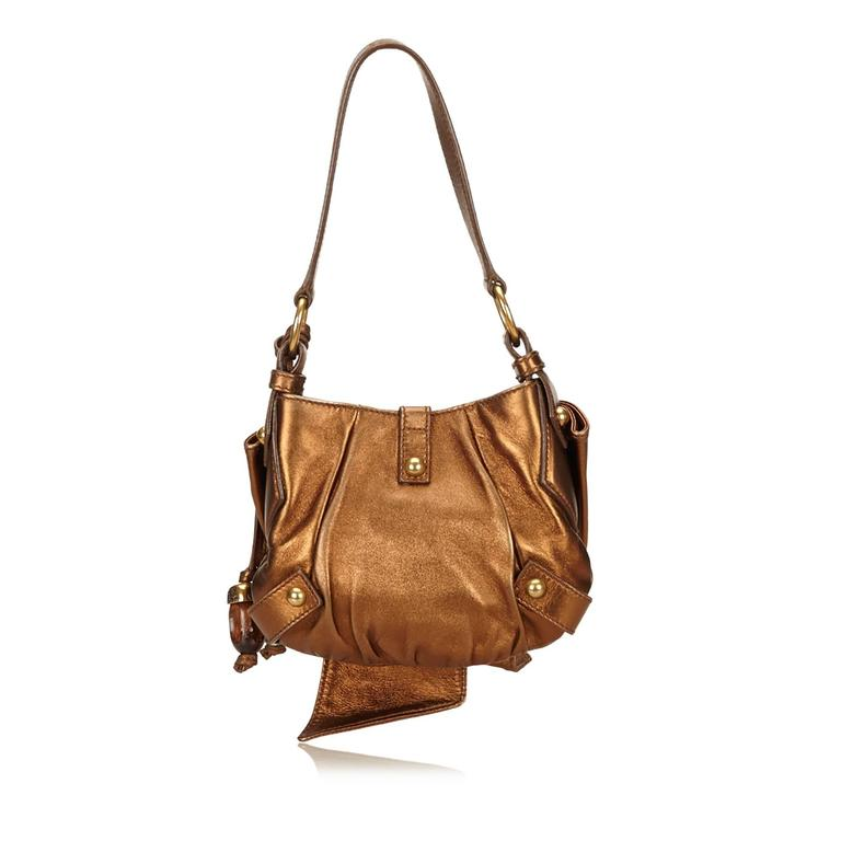 a81df224a38 YSL Brown Metallic Leather Sac Bow In Good Condition For Sale In Orlando, FL
