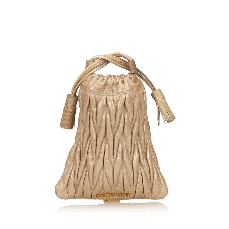 Miu Miu Brown Leather Gathered Shoulder Bag 3