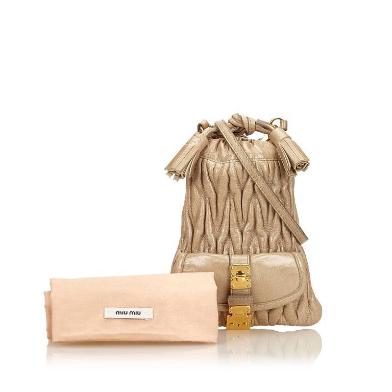 Miu Miu Brown Leather Gathered Shoulder Bag 8