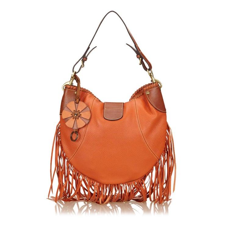 Mulberry Orange Fringed Leather Shoulder Bag In Good Condition For Orlando Fl
