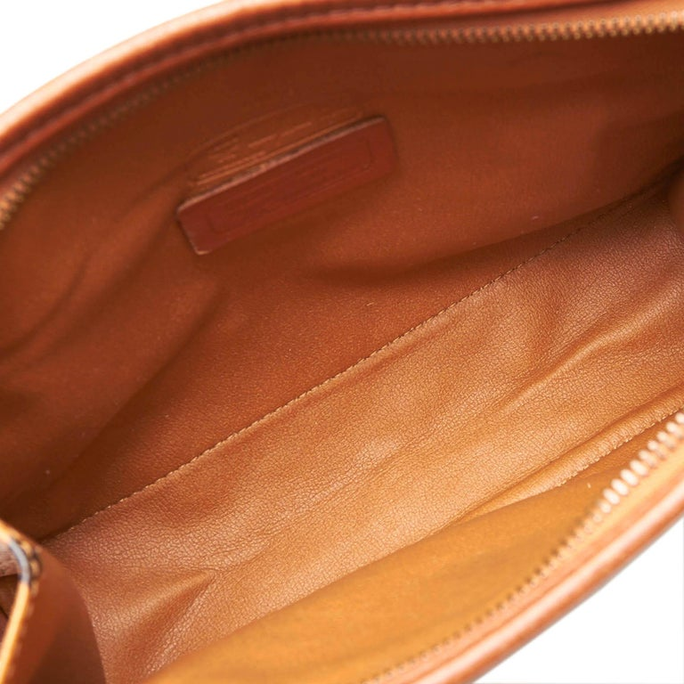 MCM Brown Visetos Leather Clutch For Sale 1