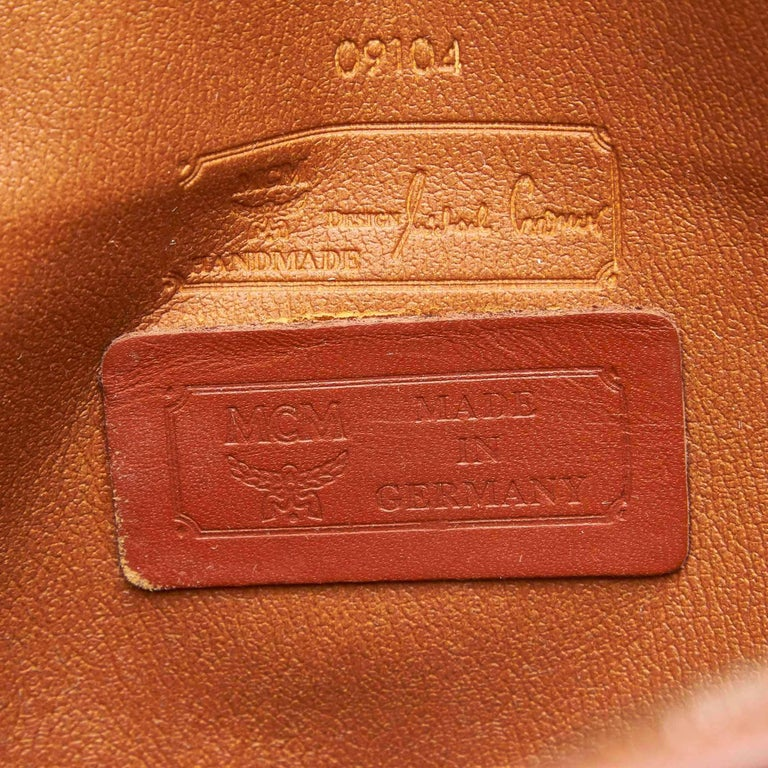MCM Brown Visetos Leather Clutch For Sale 2