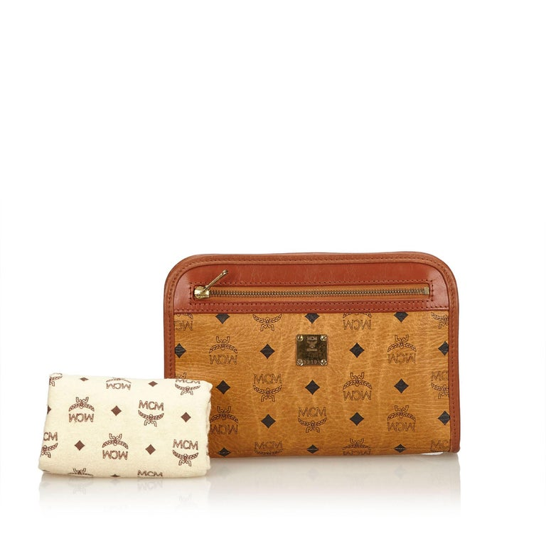 MCM Brown Visetos Leather Clutch For Sale 5