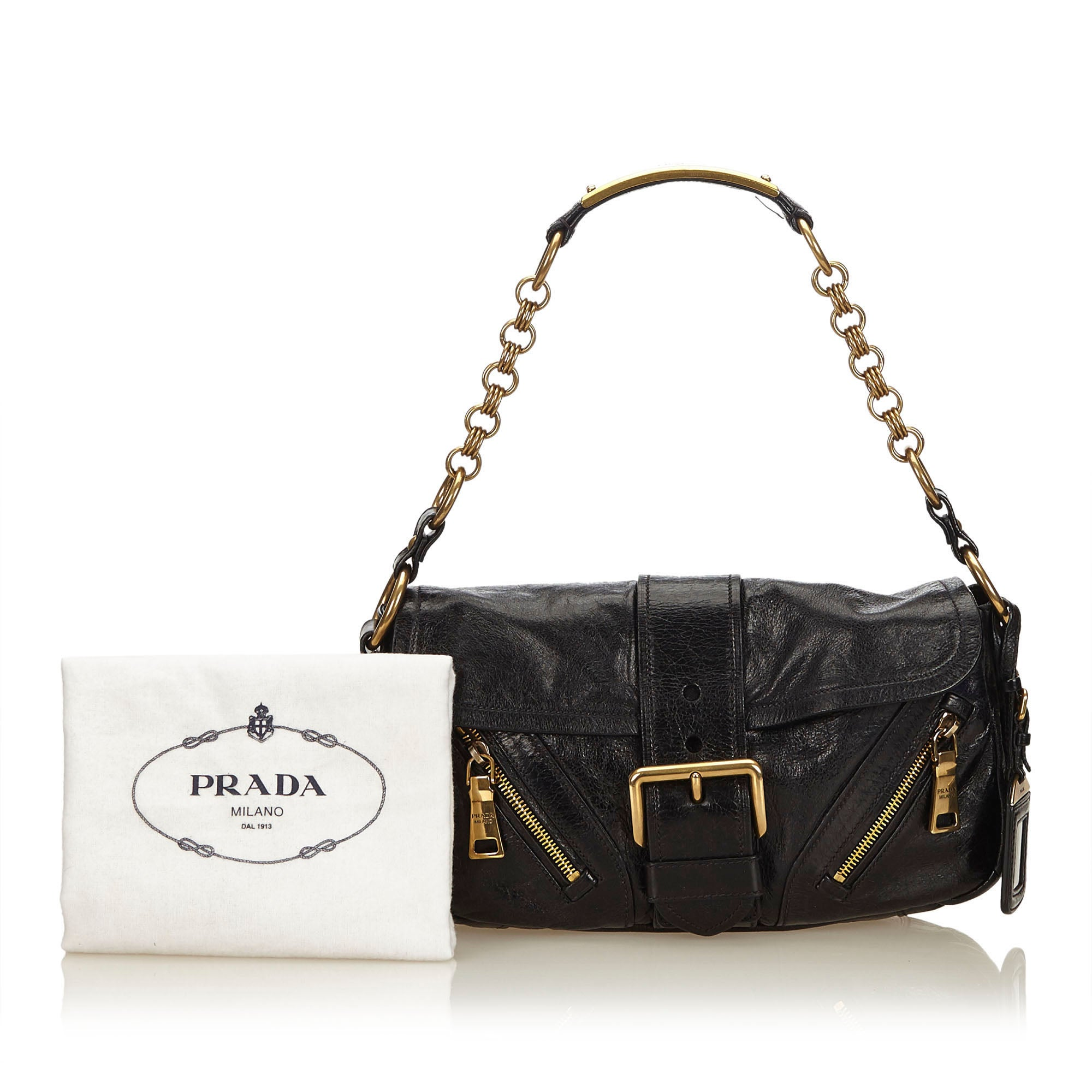 ff005aaba46d Prada Black Leather Baguette For Sale at 1stdibs