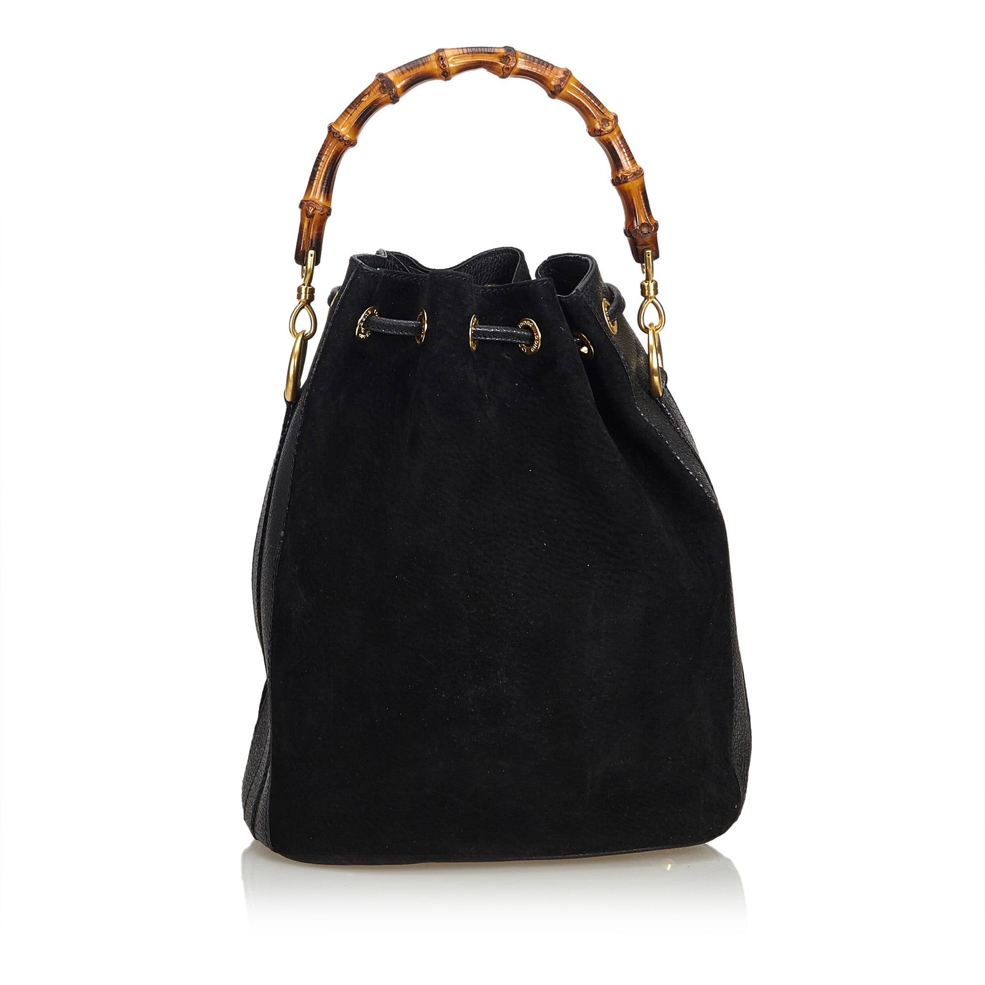 c13bb296e7ba Gucci Black Bamboo Suede Bucket Bag at 1stdibs