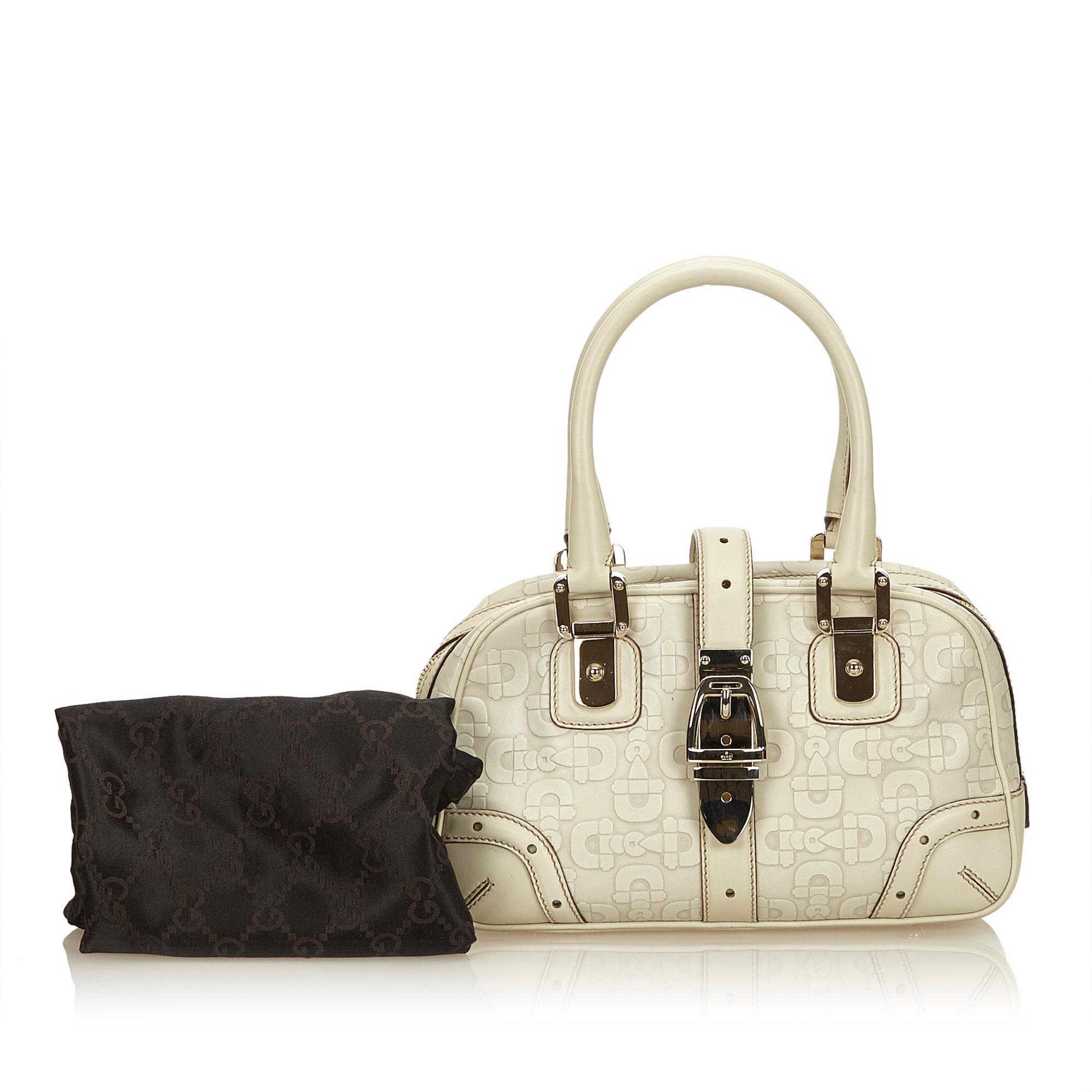 ba4d8212ec22 ... Gucci White Leather Horsebit Handbag For Sale at 1stdibs