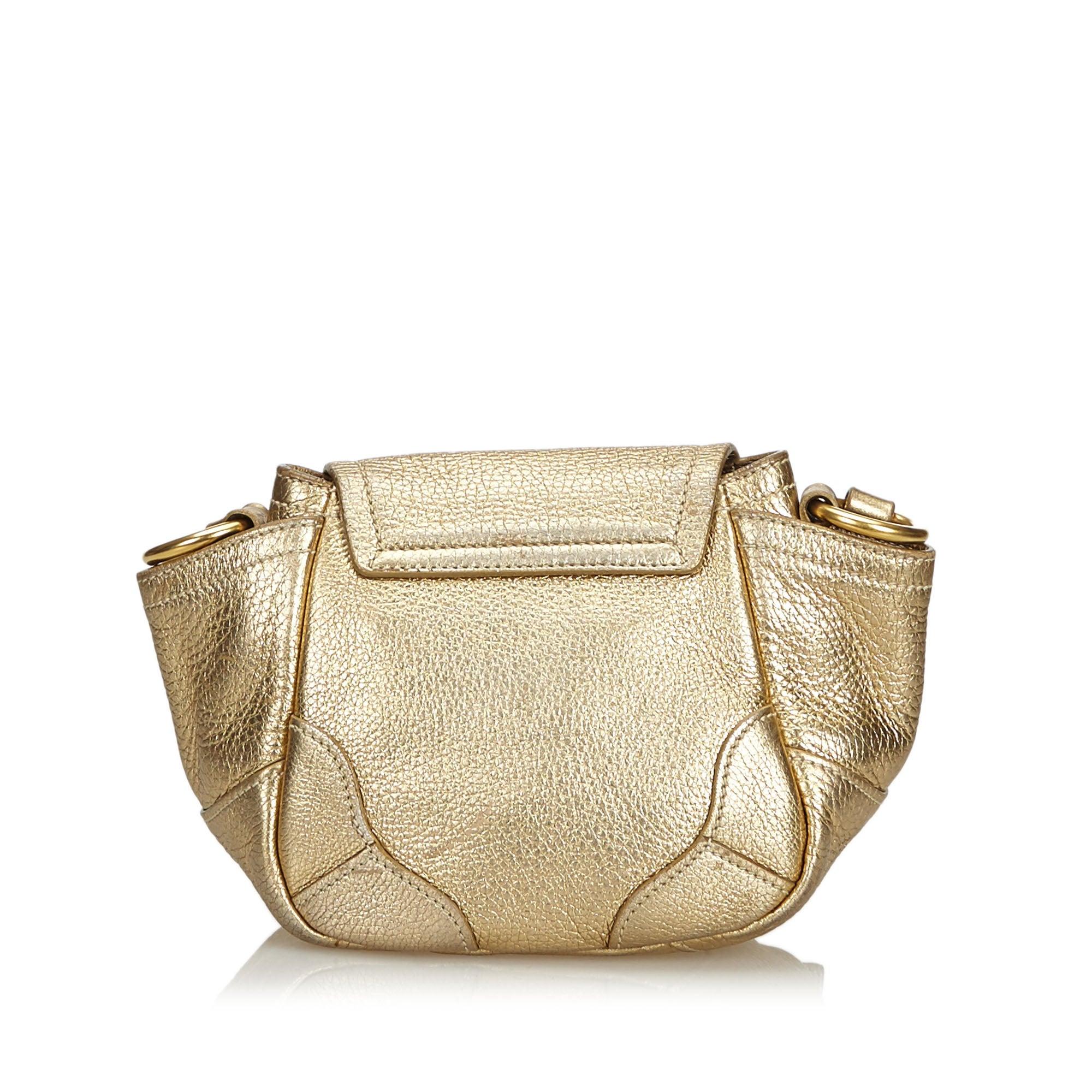 54bd2354f110 Prada Gold Vitello Daino Bandoliera Crossbody Bag at 1stdibs