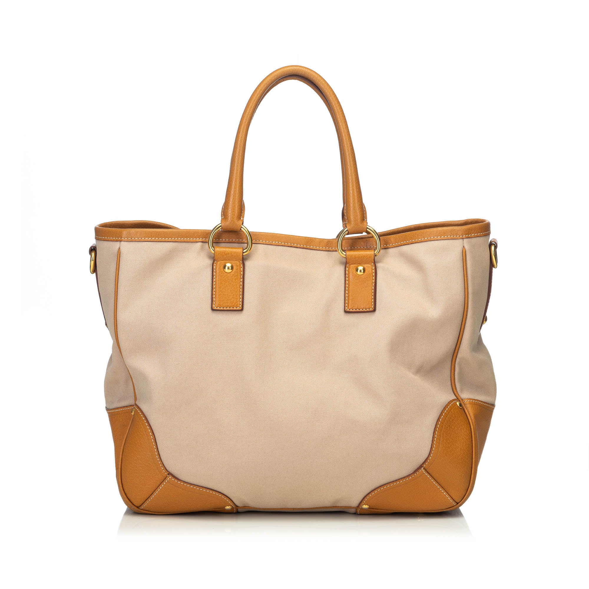 ad23c9b553d7 Prada Brown Beige Canvas Fabric Canapa Tote Bag Italy For Sale at 1stdibs