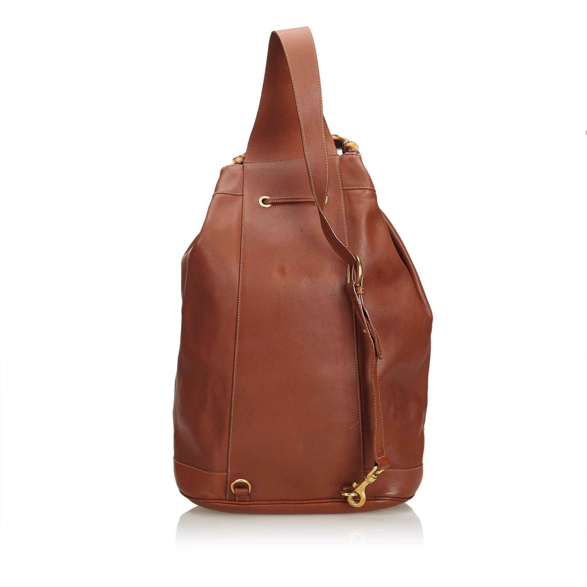 745b5392f22 Gucci Brown Leather Bamboo Drawstring Backpack Italy at 1stdibs