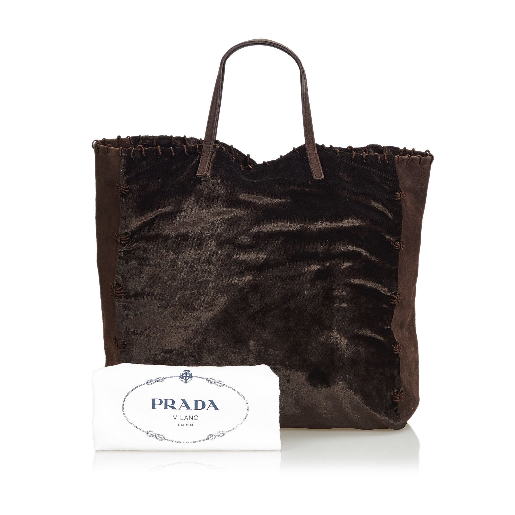 05e53ff1a16a Prada Brown Dark Brown Velour Fabric Tote Bag Italy w/ Dust Bag For Sale at  1stdibs