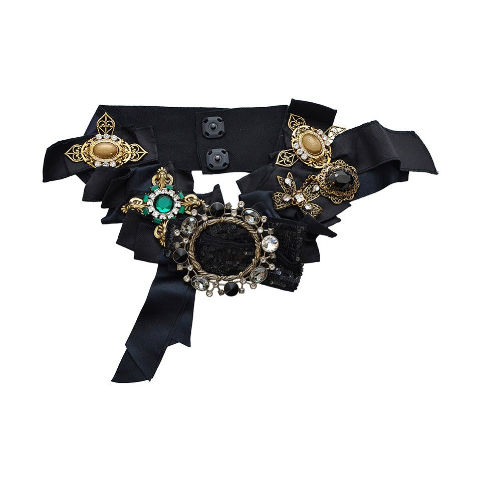 DOLCE & GABBANA Iconic Runway Belt With Swarovski Crystals Mint For Sale