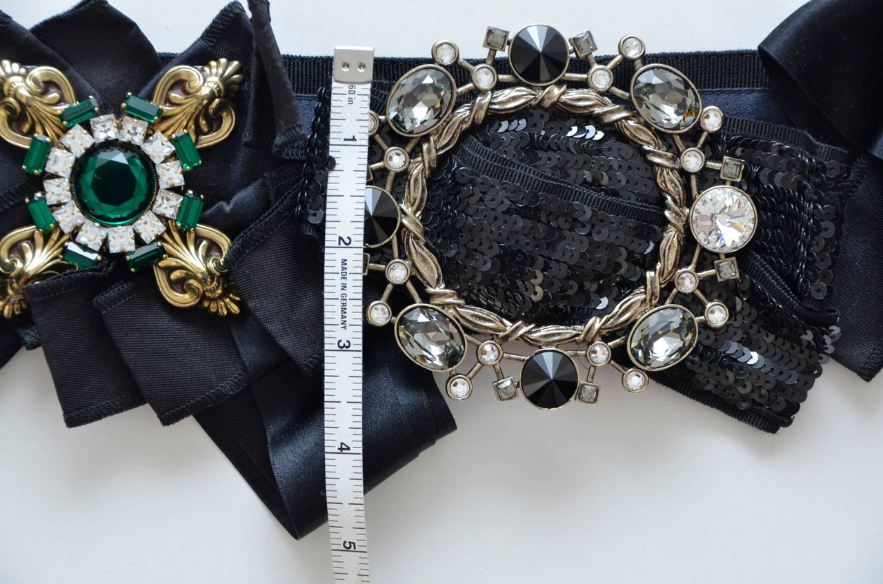 DOLCE & GABBANA Iconic Runway Belt With Swarovski Crystals Mint For Sale 3