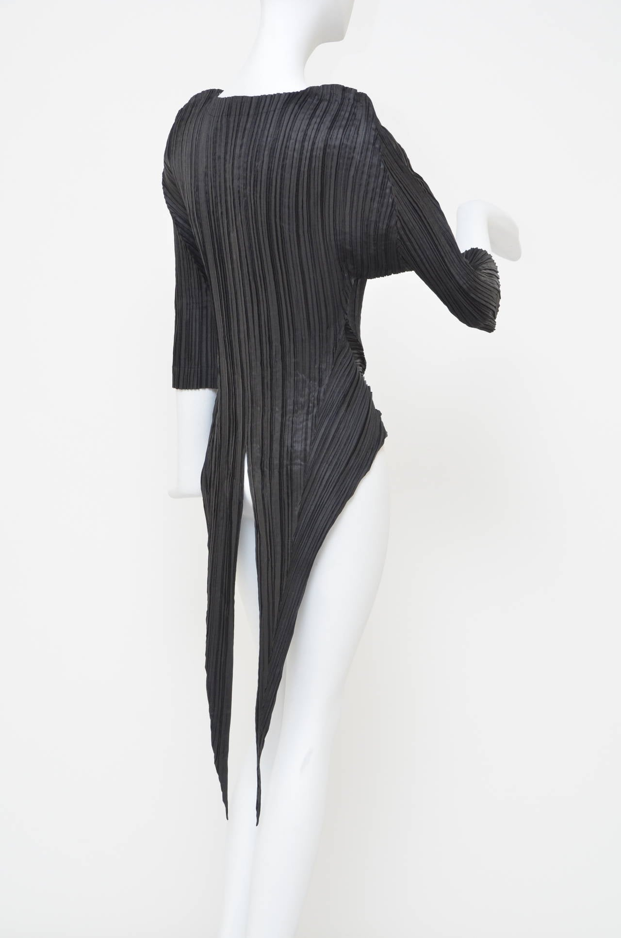 Black Issey Miyake  Origami Pleat  Top With Tails 1989 For Sale