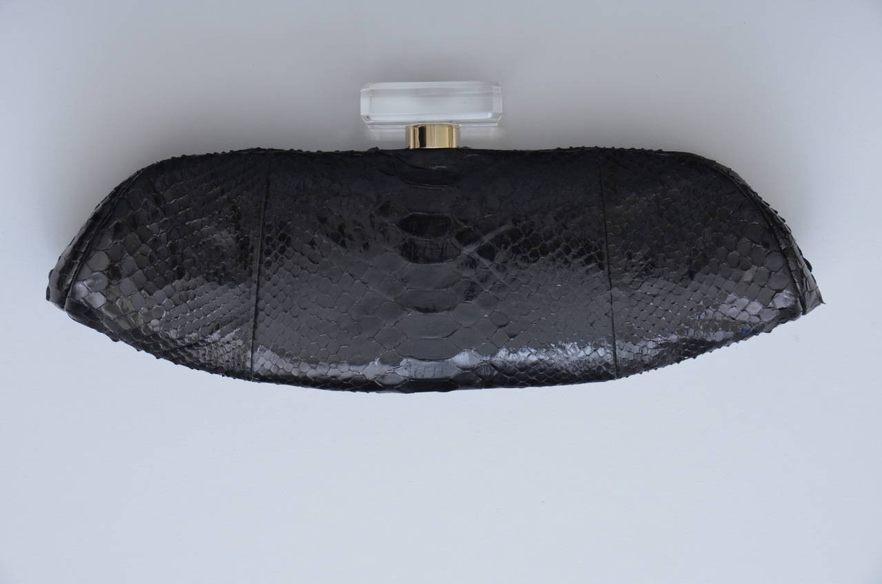 "CHANEL Snakeskin  ""LIPS""  Clutch Bag  Mint 6"