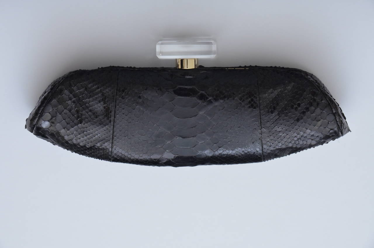 "CHANEL Snakeskin  ""LIPS""  Clutch Bag  Mint 7"