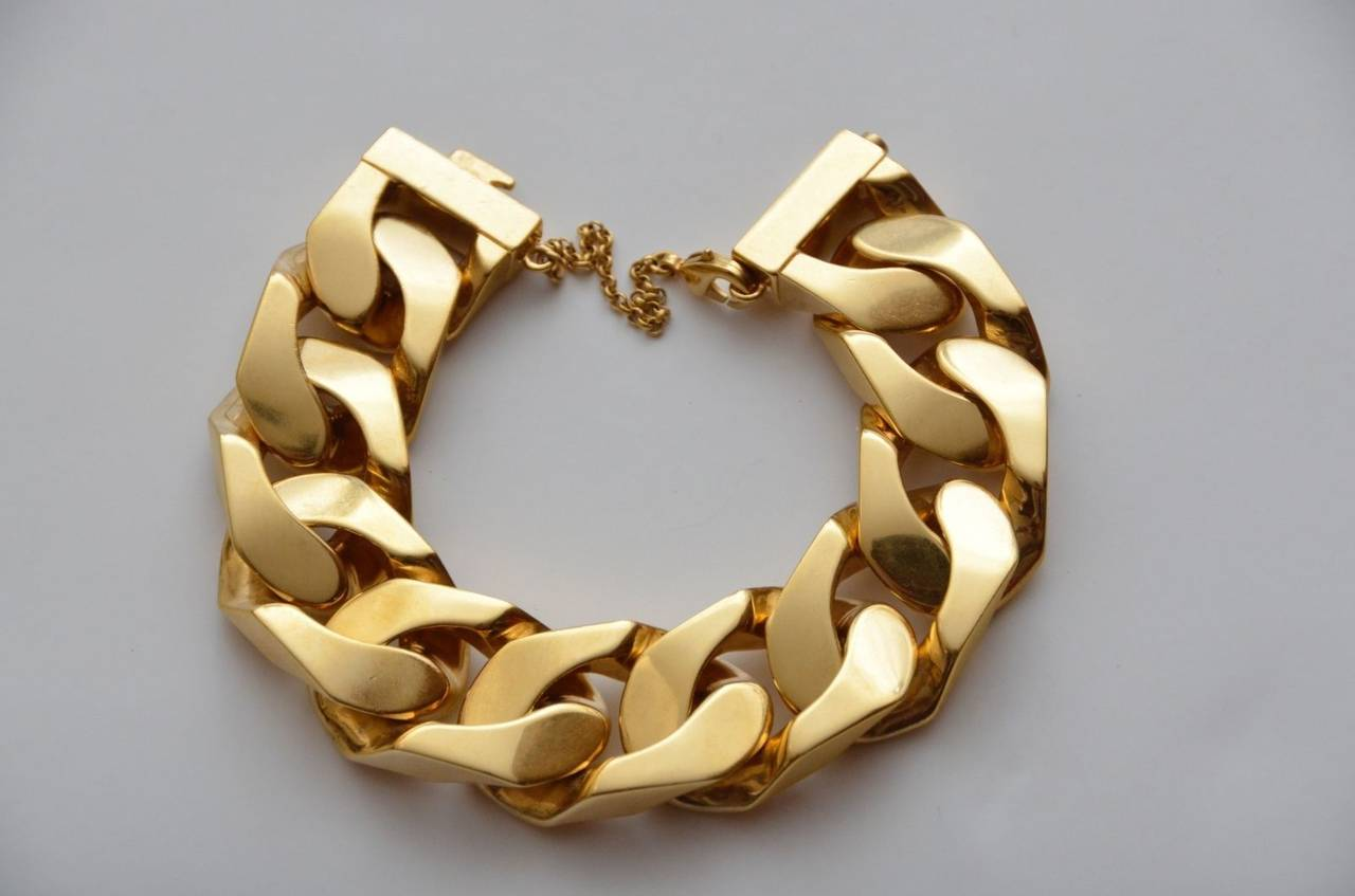 The Ultimate Celine Sold Out Worldwide Gourmette Link Gold Bracelet Gorgeous