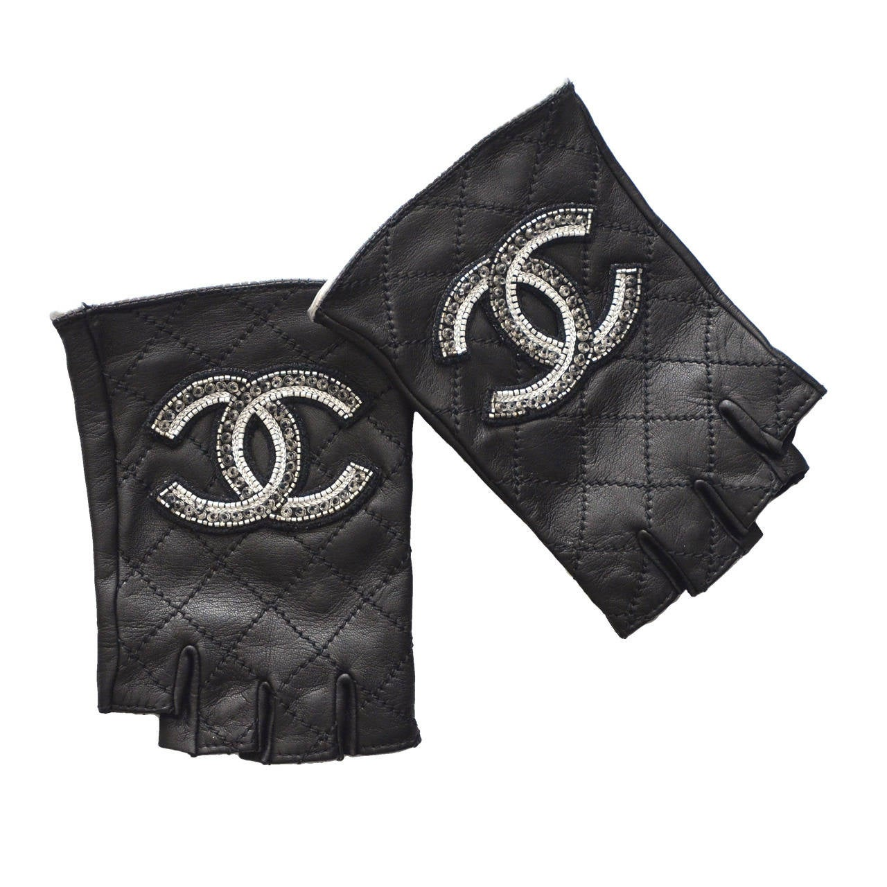 Chanel Embellished Gloves As Seen On Madonna, Fergie And Paris Mint 1