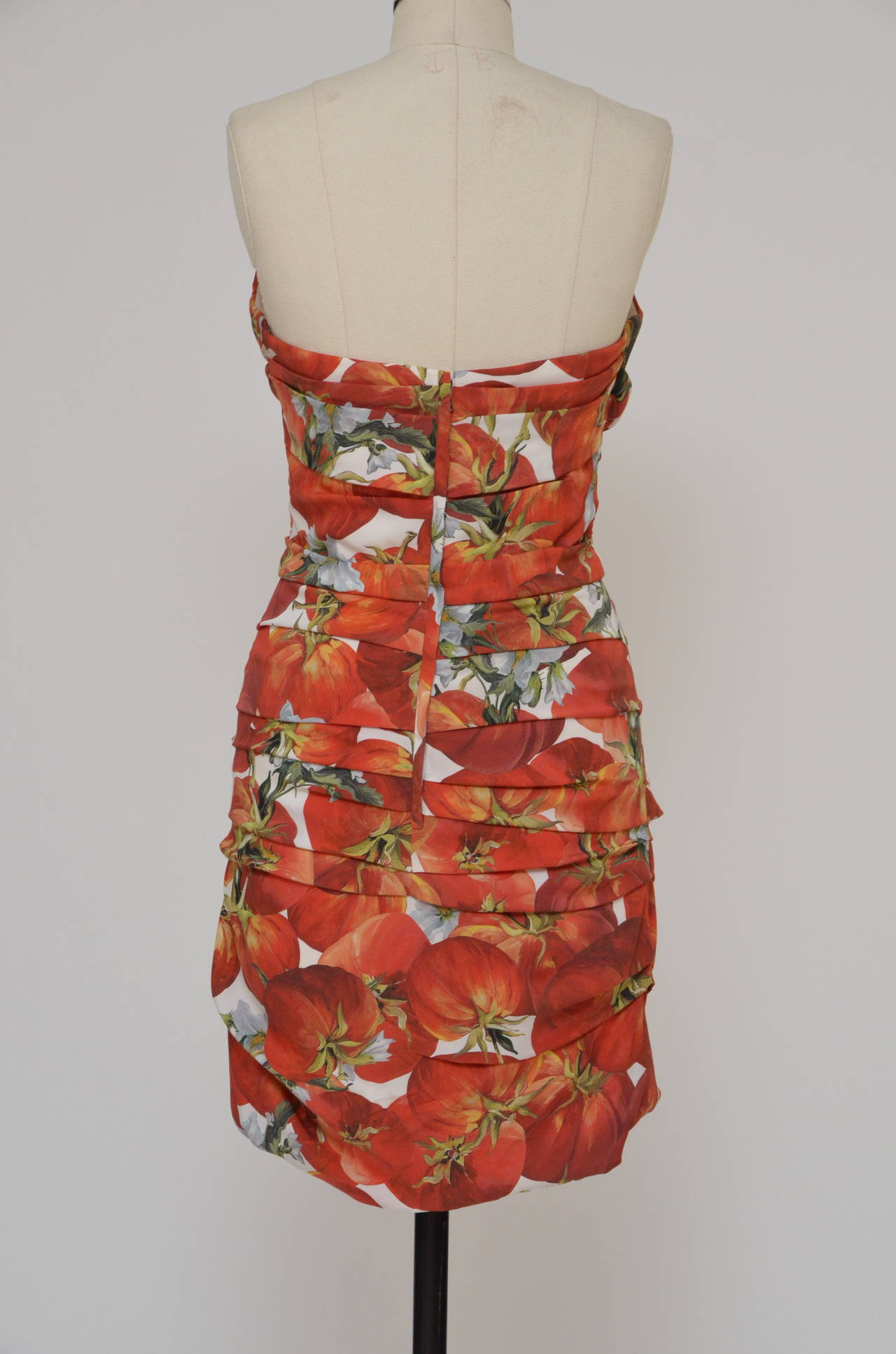 Dolce & Gabbana tomato print silk dress.  Excellent condition. Size 44.Photographed on the size 6 US  mannequin . Fabric:94% silk,6% elastan. Made in italy.  FINAL SALE.