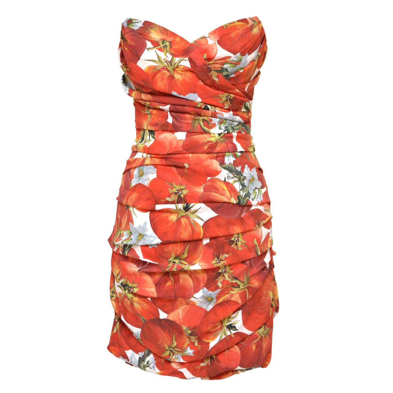 Dolce & Gabbana  Tomato Print Silk Dress For Sale