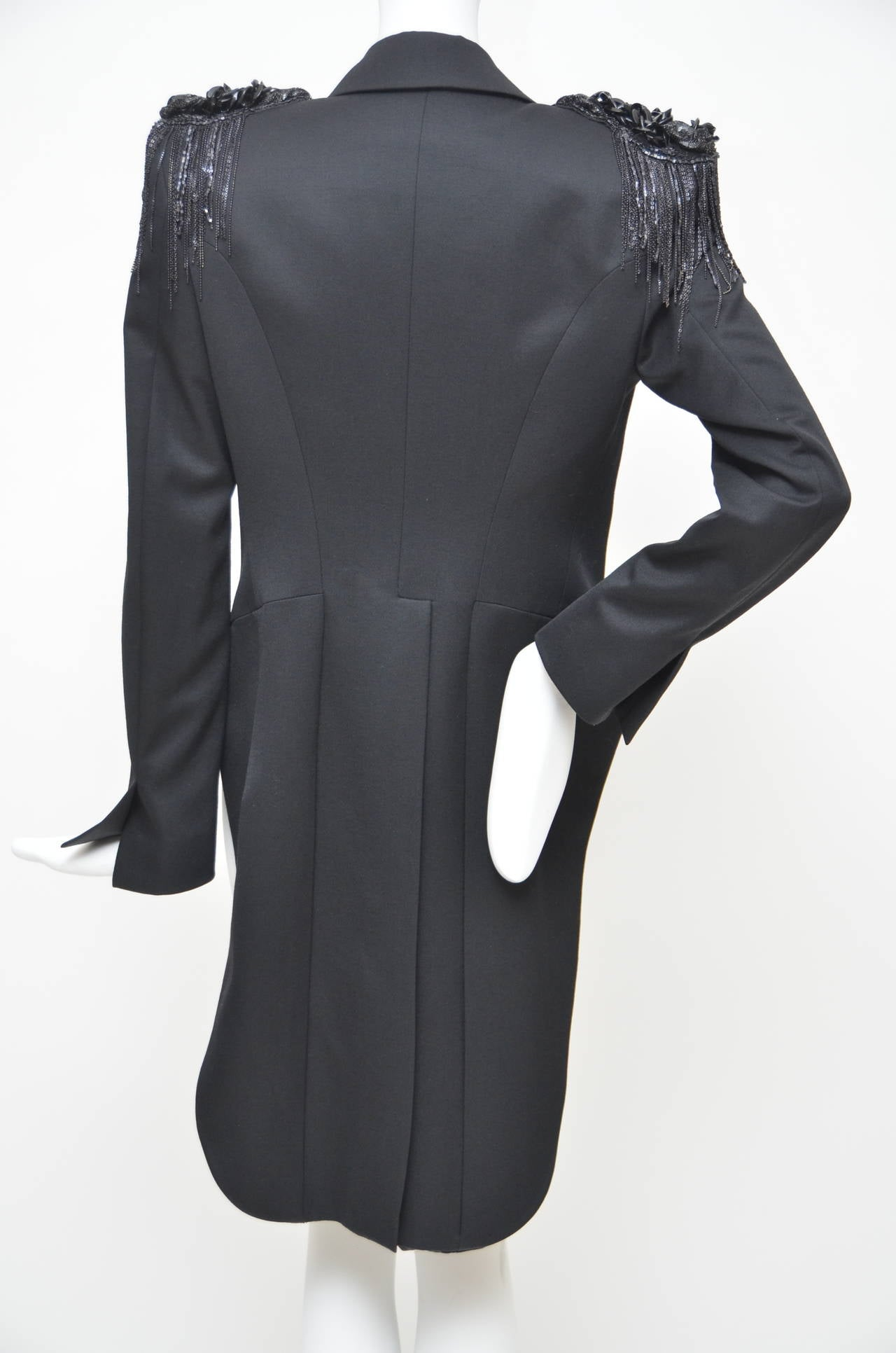 Balmain Runway Black Embroidered Detail Tail Coat Jacket