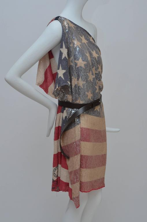 DSQUARED2 Sequined Short Shirt Dress American Flag Seen On Keisha New S 2