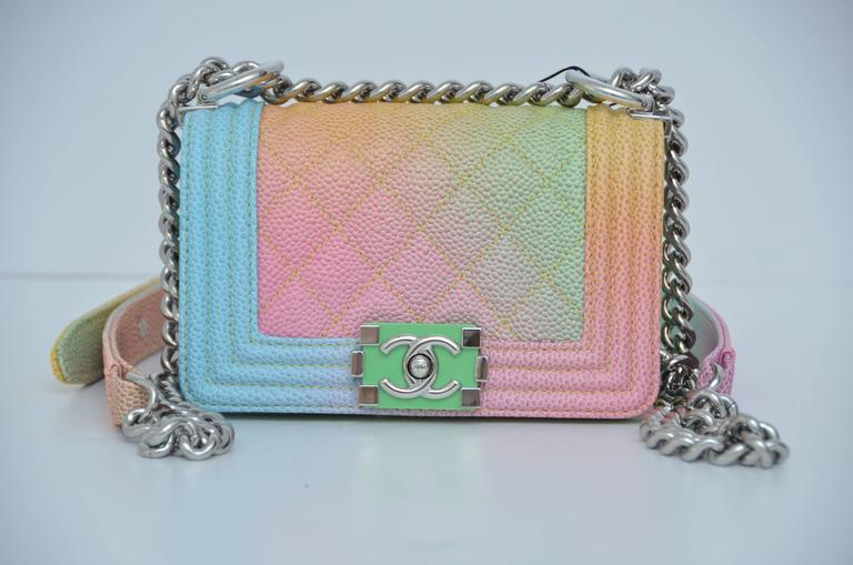 """Super rare MICRO Chanel Boy bag from Cuba 2017 collection. Brand new store fresh.Only taken out from the box for photographing. Original receipt available to a purchaser with personal info covered. Approximate measurements:L6""""  ,D 2.75"""" , H  4"""" ."""