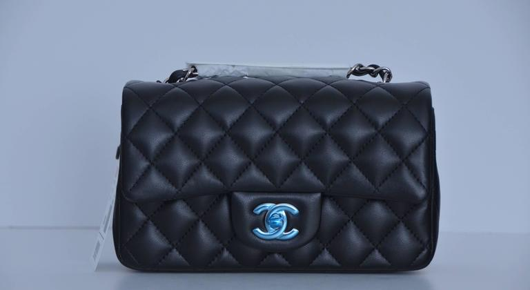 Chanel New Mini Rectangle Black Lambskin Leather With Silver Tone Hardware Combination This Is One
