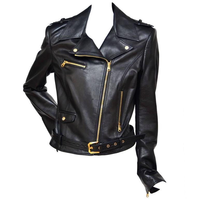 Versace Motorcycle Biker Leather Jacket   For Sale