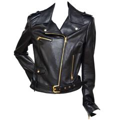 VERSACE Motorcycle  Biker Leather Jacket Mint 42
