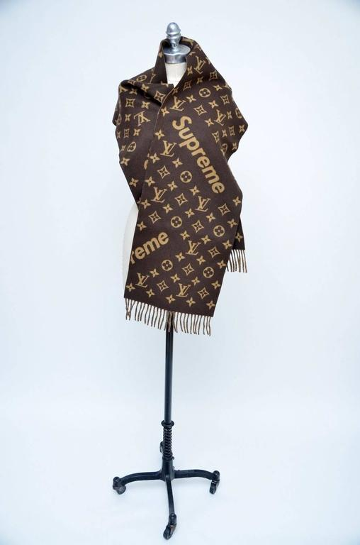 Louis Vuitton X Supreme Cashmere Wool Monogram Scarf Brown Brand New Copy Of Original