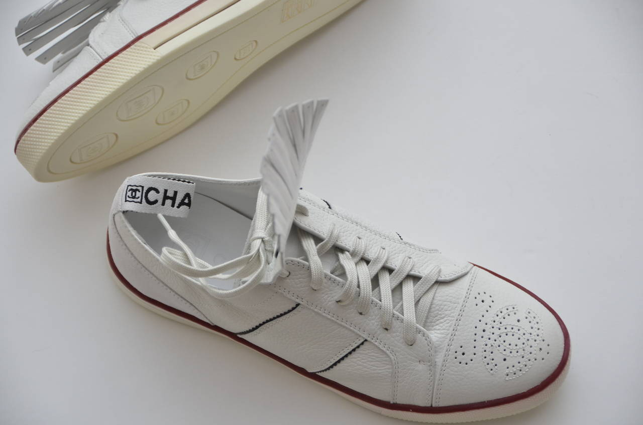 chanel new white golf or tennis shoes new 39 5 at 1stdibs