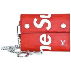 Louis Vuitton X Supreme Red Chain Wallet Epi Leather NEW