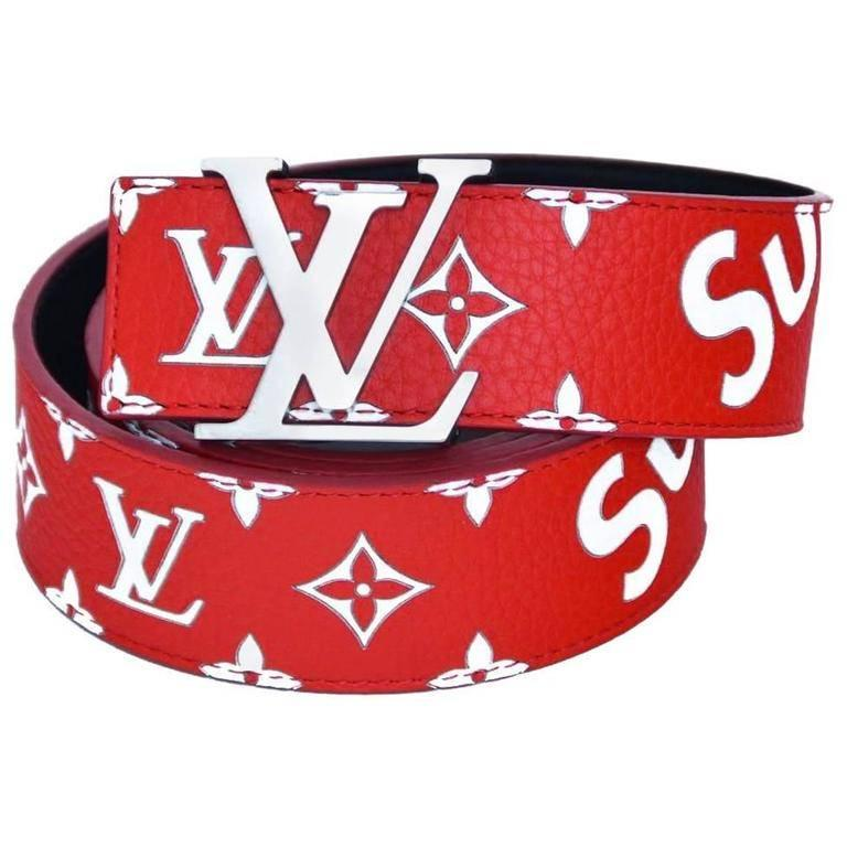 Louis Vuitton X Supreme Red Belt Sz 95 New With Receipt Box For At 1stdibs