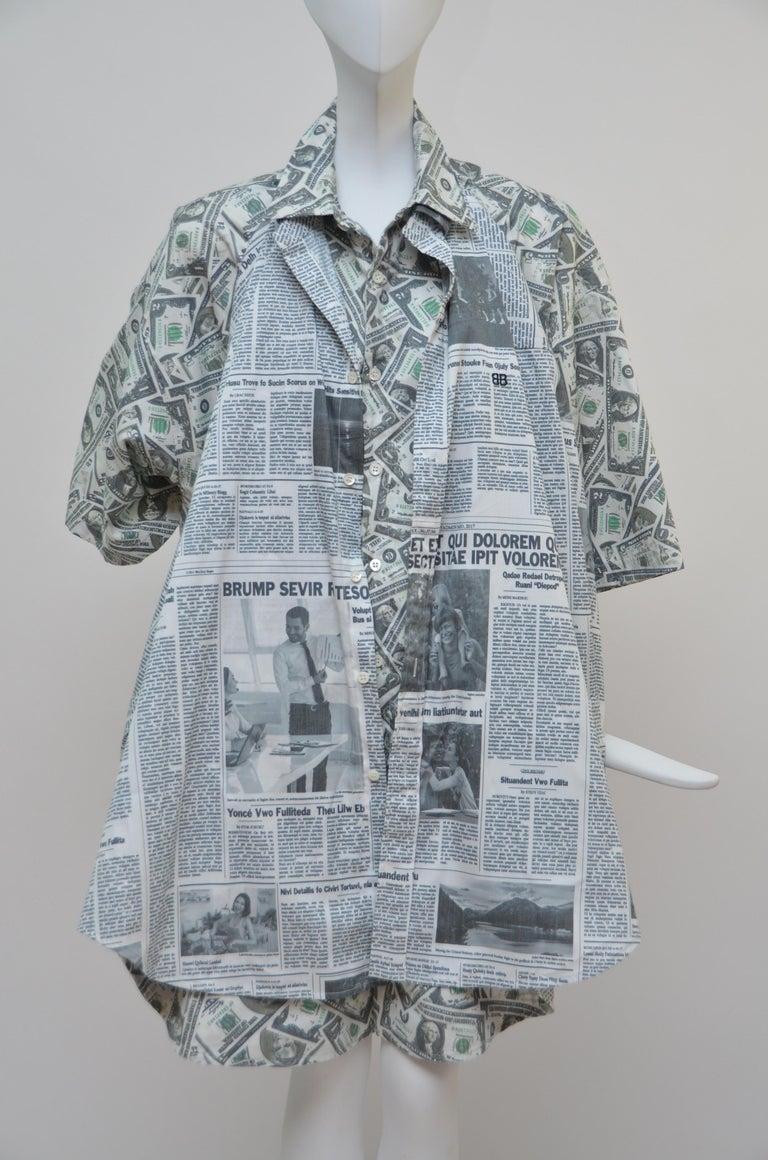 Women's or Men's Balenciaga Money $$ Print Shirt  Oversized  Size 40  NEW For Sale