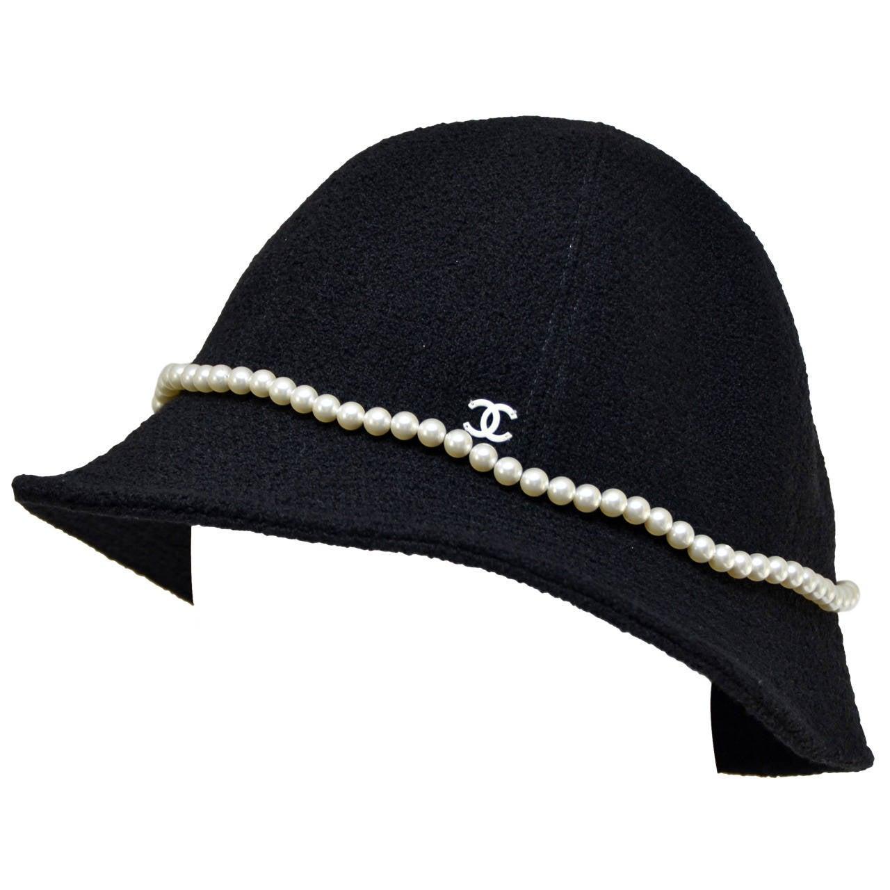 Chanel Pearl Tweed Hat at 1stdibs