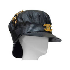 Rare Vintage Chanel Lambskin Leather Hat As Seen On Rihanna Mint New