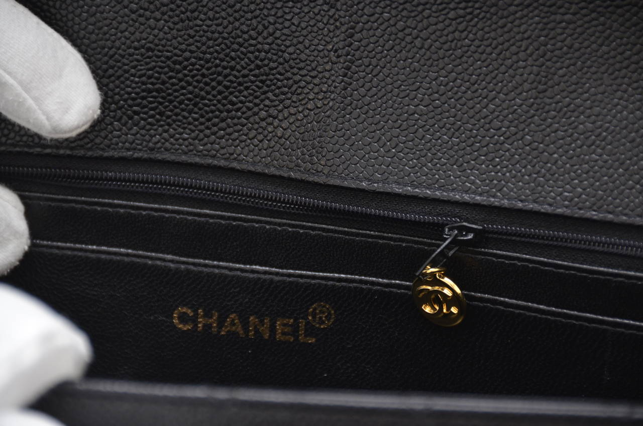 CHANEL Jumbo Size Caviar Leather  Vintage Single  Flap Handbag 8