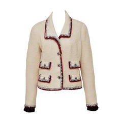 Iconic CHANEL Ecru Color  Boucle Jacket '06 Mint