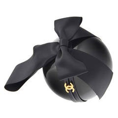 Chanel Giant Black Pearl  With Satin Bow Bag Clutch Runway