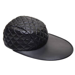 "CHANEL  Hip-Hop  ""Super Cool""  Lambskin Leather Quilted  Vintage Hat  NEW"