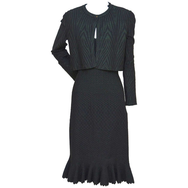 Azzedine Alaia Crocodile Luxe  Dress  With Matching  Cardigan For Sale