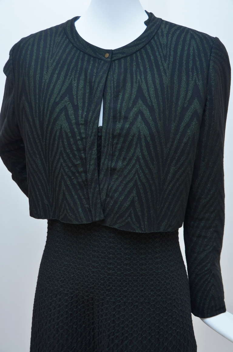 Azzedine Alaia Crocodile Luxe  Dress  With Matching  Cardigan In Excellent Condition For Sale In Hollywood, FL