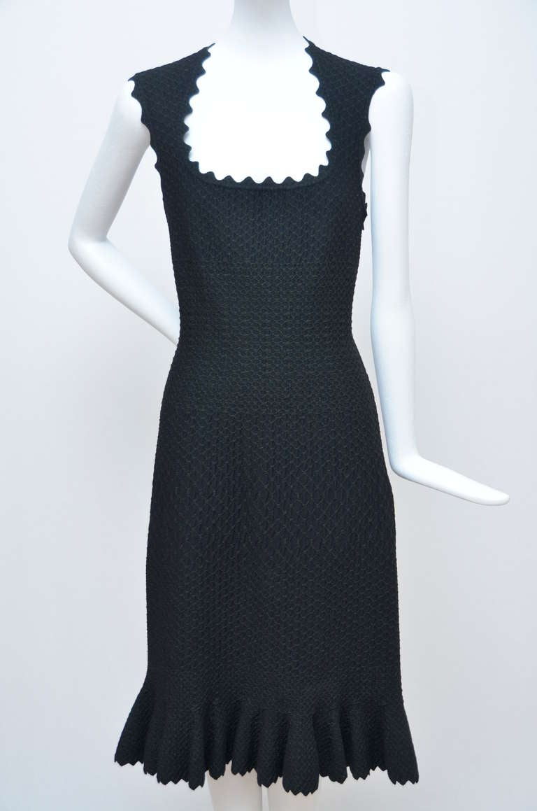 Black Azzedine Alaia Crocodile Luxe  Dress  With Matching  Cardigan For Sale