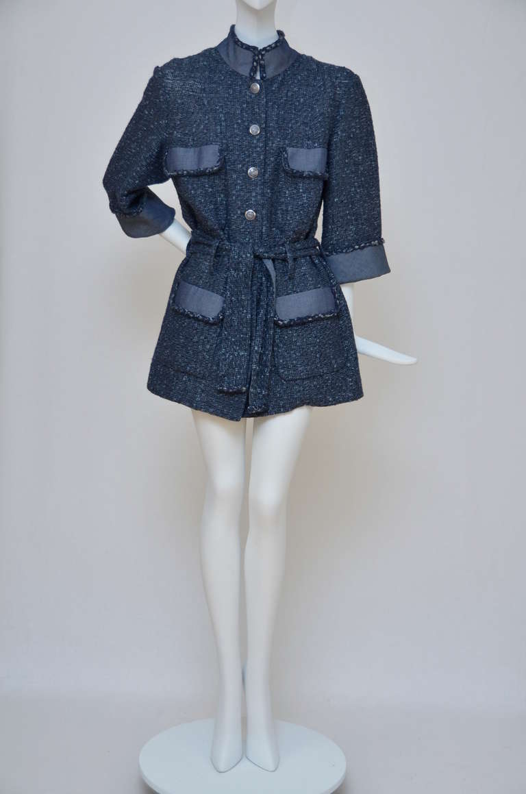 Chanel Tweed Jacket Blazer With Denim Trim 2