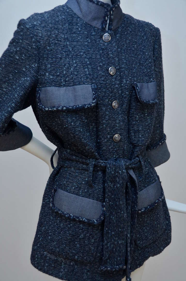 Chanel Tweed Jacket Blazer With Denim Trim 3