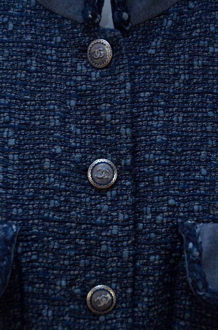 Chanel Tweed Jacket Blazer With Denim Trim 7