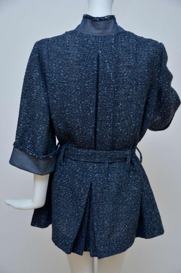 Chanel Tweed Jacket Blazer With Denim Trim 4