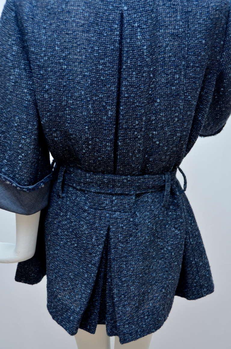 Chanel Tweed Jacket Blazer With Denim Trim 6